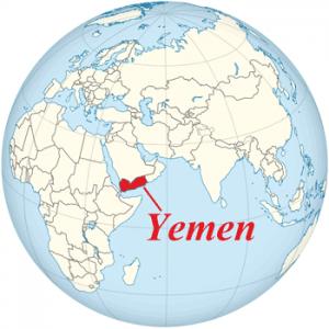 Yemen on the globe